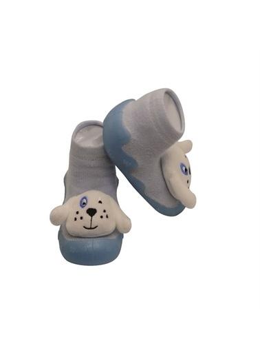 First Step Mavi 3 Boyutlu Köpekcik Figürlü Altı Kaymaz Silikon Çocuk Panduf Ayakkabı c-26-1 Mavi